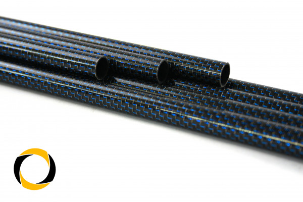 Carbon Designrohr Eco Blau 25x1,5x1000mm mit eloxierten Zierfäden glänzend
