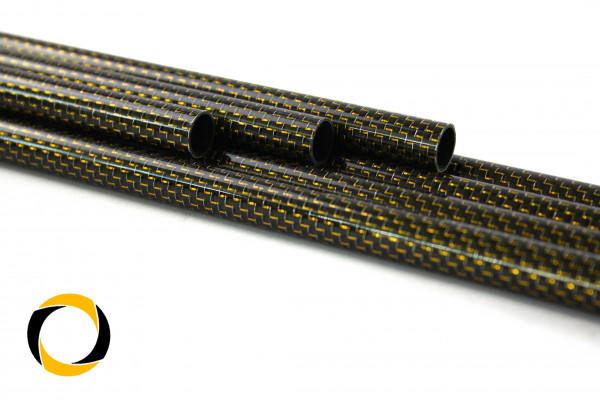 Carbon Designrohr Eco Gold 27x0,7x1000mm mit eloxierten Zierfäden glänzend