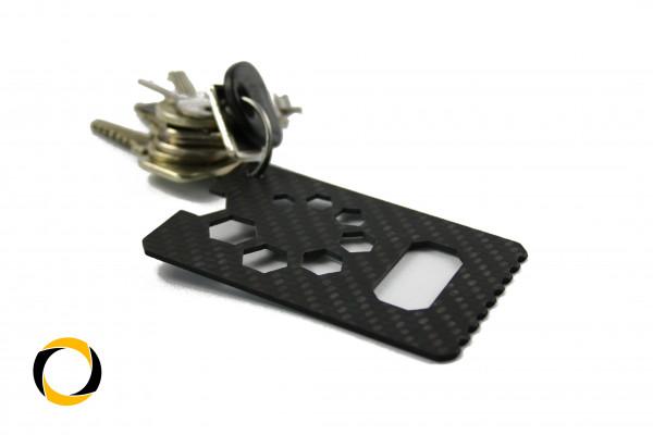 Carbon Multitool 12in1 Scheckkartenformat Biketool Flaschenöffner Eiskratzer Kopfhöhreraufbewahrung