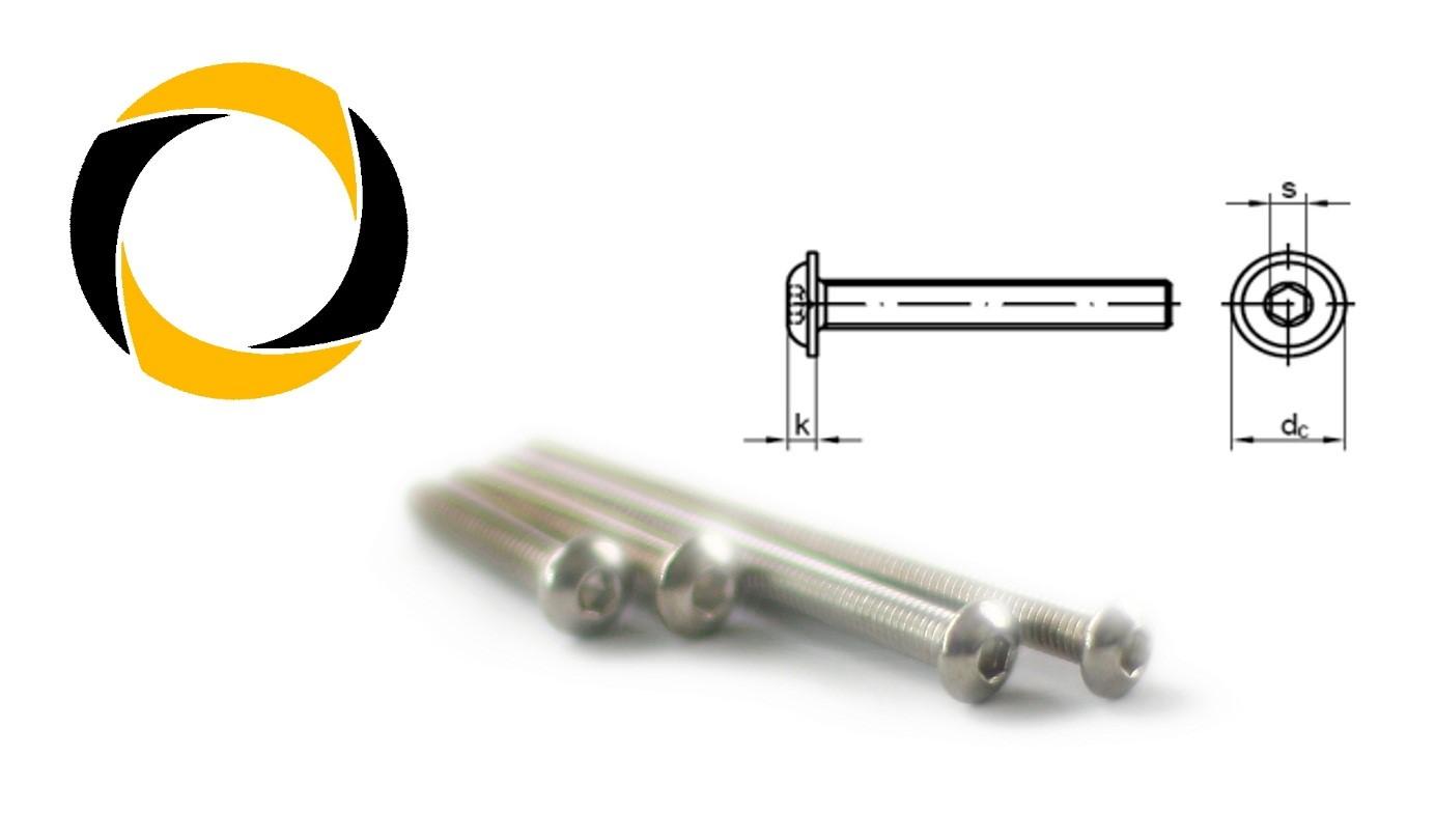 Linsenkopfschrauben ISO 7380 mit FLANSCH Edelstahl A4 M3X4 bis M3X30 V4A