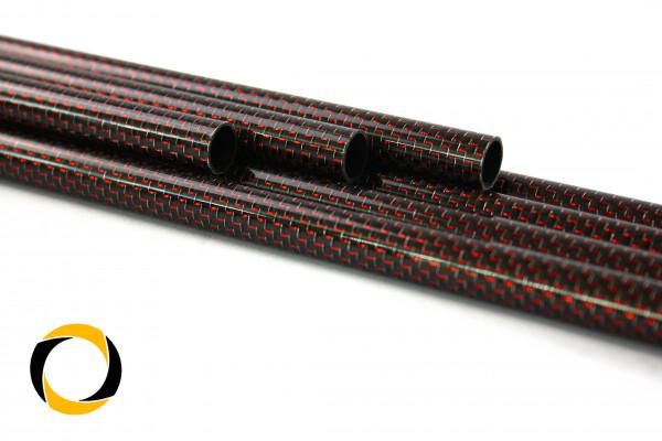 Carbon Designrohr Eco Rot 25x1,5x1000mm mit eloxierten Zierfäden glänzend