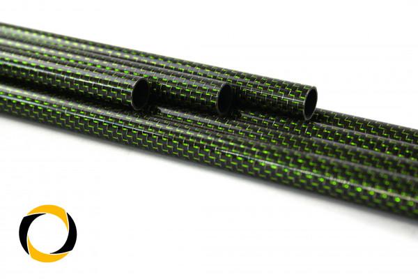 Carbon Designrohr Eco Grün 12x1x1000mm mit eloxierten Zierfäden glänzend